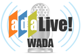 Imagine of a radio microphone with the text ADA Live! WADA