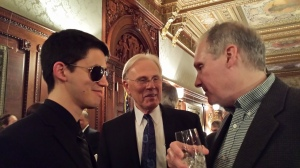 Justin Kauflin, Bill McCann, and Jon something at the reception following the concert