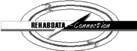 A grey oval with a white arrow pointing from the left to the center with REHABDATA in black letters, and a black arrow pointing from the right to the center with Connection in white letters.